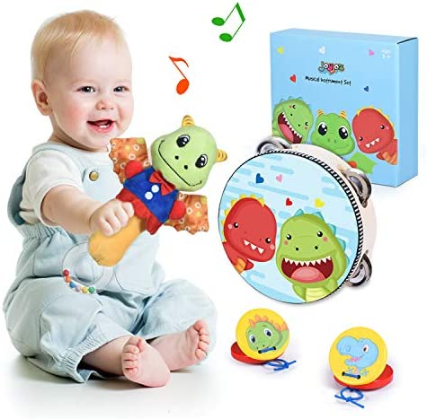 Joyjoz Baby Rattle Set Musical Toys for ToddlersWooden Tambourine and Castanets Kids Musical Instruments Early Educational Preschool Sensory Toys Baby Musical Toys for Boys Girls Gifts