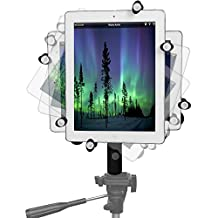 iPad Pro 12.9 Tripod Mount Metal Frame & Extendable 8 inch Camera Tripod Adapter Pole with 360° Swivel Locking Ball Head / Hand-Held Mono Pod - Works with Case or Without Case