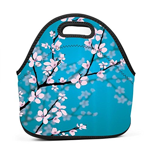 - WWINL Cherry Blossoms Lunch Bag Insulated Reusable Neoprene Lunch Box Waterproof Tote Bento Bag With Zippe Handbag For Men, Women, Adults, Kids, Girls, Boys