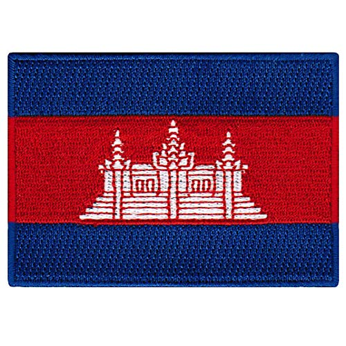 Cambodia Flag Embroidered Patch Cambodian Khmer Iron-On Nati
