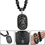 hsn_zem Men's Stainless Steel Lion Head Shield Pendant With Onyx Beads Chain Necklace US