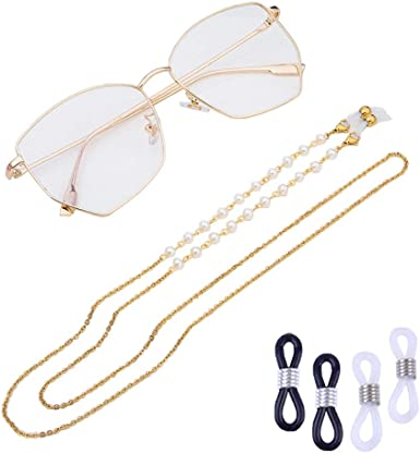 COMVIP Beaded Eyeglasses Cord Necklace Spectacle Chain Holder Strap Green