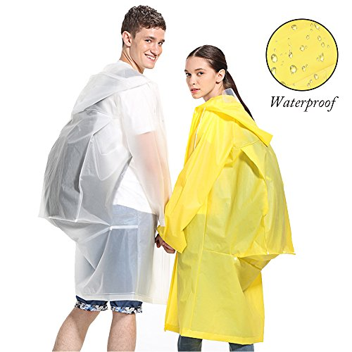 Poncho Mangas para Rainwear Festival Mujeres con Viaje Camping Eva Capucha Aibrou Amarillo Portable o Snow Impermeable Unisex y Hombres wpBxB4qH