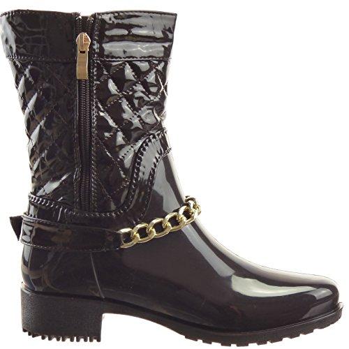 Sopily - Zapatillas de Moda Botines Botas Botas de guma de lluvia Media pierna mujer brillantes zapato acolchado Talón Tacón ancho 3.5 CM - Marrón
