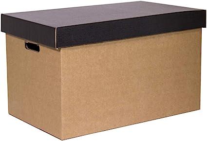 Kartox | Cajas de Cartón de Almacenamiento con Tapa Negra | 2 unidades: Amazon.es: Oficina y papelería