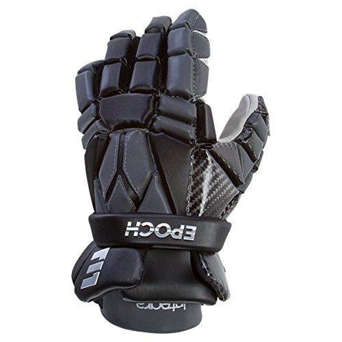 Epoch Lacrosse Integra High Perfomance Lacrosse Glove with Phase Change Technology, Real Carbon Thumb for Attack, Middie and Defensemen (12 inch) (Black)