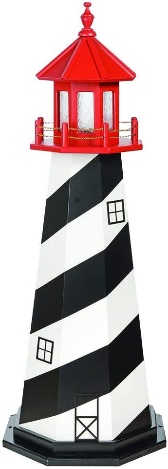 DutchCrafters Wooden St. Augustine Decorative Lighthouse Statue, 3' Tall, Black/White/Red - Amish Made in America