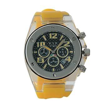 V.I.P. Time V.I.P. Time CRU-05 - Reloj de caballero de cuarzo con correa de silicona amarilla: Amazon.es: Relojes