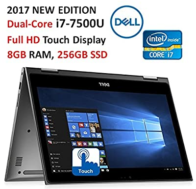 "Dell Inspiron 2-in-1 13.3"" (2017 Newest) Full HD Touchscreen Convertible Laptop, Intel Core i7-7500U (4M, up to 3.5GHz), 8GB DDR4 RAM, 256GB SSD, Backlit Keyboard, Wi-Fi, Bluetooth, Webcam, Win 10 by Dell Computers"