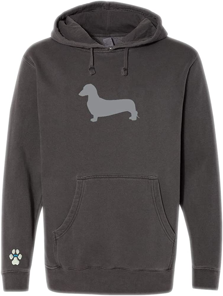 Heavyweight Pigment-Dyed Hooded Sweatshirt with/ Dachshund Brown Silhouette
