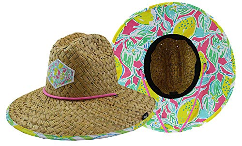 Straw Hats For Women - Woman''s Sun Hat Straw Hat with Fabric Print Lifeguard Hat Great for Beach Ocean, Cruise, and Outdoor, Malabar Hat Co. (Lemons)