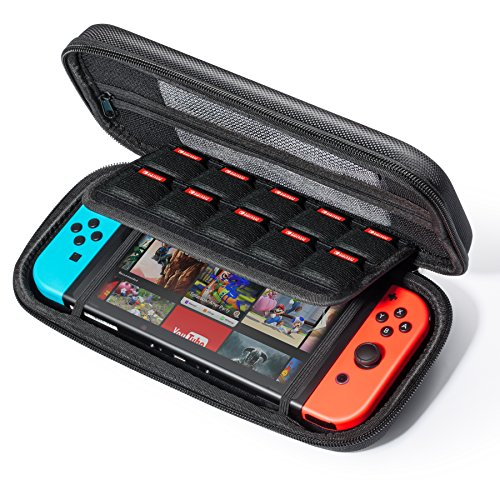 - i-Mate Nintendo Switch Case Protective Hard Portable Travel Carry Case Shell Pouch for Nintendo Switch Console & Accessories with 10 Game Card Slots - BLACK