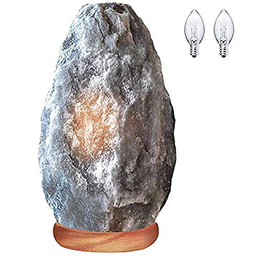 Himalayan Glow Very Rare Large Natural Gray Himalayan Salt lamp, ETL Listed Dimmer Switch with 2 Free Salt lamp Bulbs by WBM