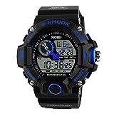 Gosasa Multi Function Military S-shock Sports Watch LED Digital & Analog 5ATM Waterproof Alarm (Blue)