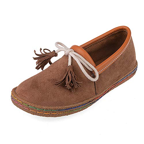 ZHRUI Mocasines Tassel Bowknot para Mujer Slip on Faux Suede Stitching Comfort Flat (Color : Marrón, tamaño : EU 36): Amazon.es: Hogar
