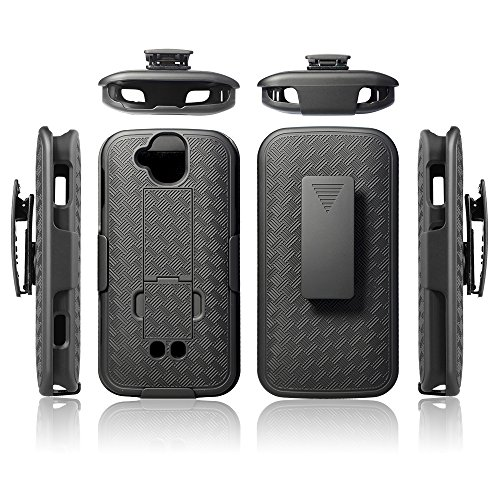 DuraForce Pro Case Cover, Microseven Black Kickstand Case Slim Hard Shell Cover for Kyocera Duraforce Pro (E6810, E6820, E6830, E6800) (AT&T, Sprint, Verizon, Unlocked)
