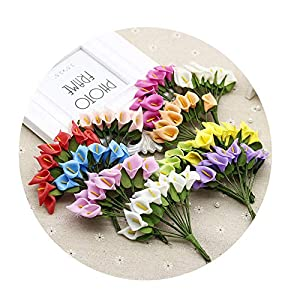 DraFenn 12Pcs Mini Foam Calla Lily Fake Flowers Bouquet Artificial Flowers for Decoration Wedding Decoration 91
