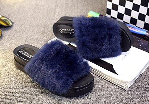 Chaussons Pantoufles 35 Blue 35 Blue 37 Muffin Chaussures Home Fhouses décoratifs 1 Thick décontracté Lady Soled wCRqEFY