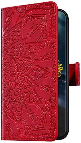 Uposao Kompatibel mit Samsung Galaxy J6 2018 Hülle Leder Handyhülle Schutzhülle Mandala Blumen Muster Flip Wallet Bookstyle Case Ledertasche Lederhülle Klapphülle Magnet Kartenfächer,Rot