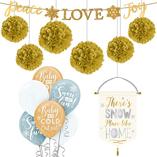 Party City Deluxe Gold Christmas Decorating Kit, Holiday Party Supplies, Includes Banner and Fabric Sign
