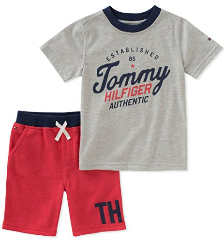 Tommy Hilfiger 2 Piece - Tommy Hilfiger Boys' Toddler 2 Pieces Shorts Set, Gray/red, 3T