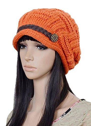 Crochet Hat Free (Xinliya Women Stretch Knit Crochet Hat Beret Cap Headwear One Size Orange)