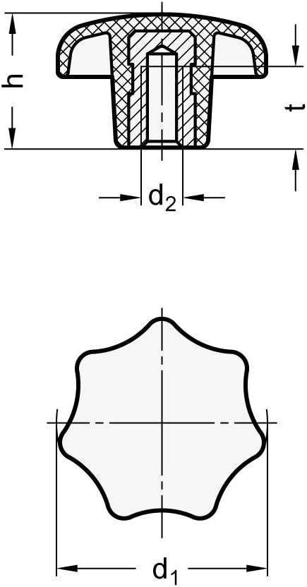 negro DIN 6336-KT-63-M12-K ganter Elementos Norma DIN 6336/de KT de 25/de M5/de K Estrella asas con rosca hembra