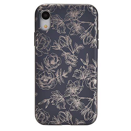 - Rose Gold Chrome Black Floral iPhone XR Case - Premium Protective Cover - Cute Flower Phone Cases for Girls & Women [Drop Test Certified]