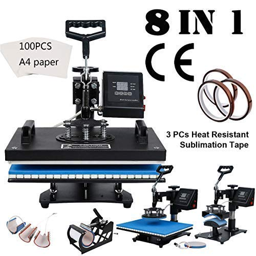 Tengchang 8 in1 Digital Sublimation Heat Press Machine for T-Shirt Mug Hat Cap Plate w/Transfer Paper & ()