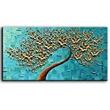 home wall art  - 3D Oil Painting Flowers, On Canvas Texture Palette Knife Golden Flowers Tree Paintings Abstract Landscape Artwork Wall Art for Living Room Bedroom Home Decor (20X40 inch)