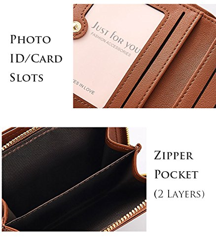 Small Compact Bifold Leather Pocket Wallet Purse for Women Clutch with ID Window Zipper Pocket Coin Card Cash Winered by Machao (Image #6)