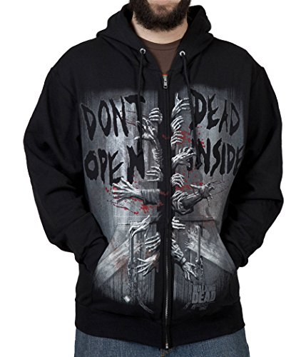Walking Dead Dead Inside Zip Front Hoodie-X-Large