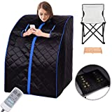 Giantex Portable Far Infrared Spa Sauna Full Body Slimming Weight Loss Negative Ion Detox Therapy In Home Personal Sauna w/ Heating Foot Pad and Folding Chair (Black)