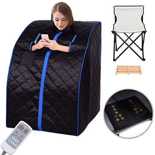 Giantex Portable Far Infrared Spa Sauna Full Body Slimming Weight Loss Negative Ion Detox Therapy In Home Personal Sauna w/ Heating Foot Pad and Folding Chair (Black) (Portable Spa Heater)