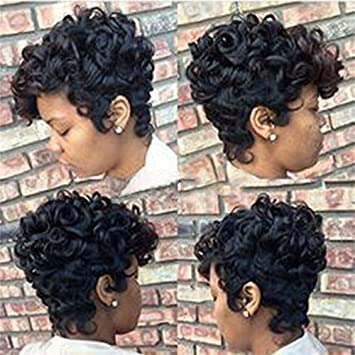 Short Ombre Brown Black Curly Hair Wigs For
