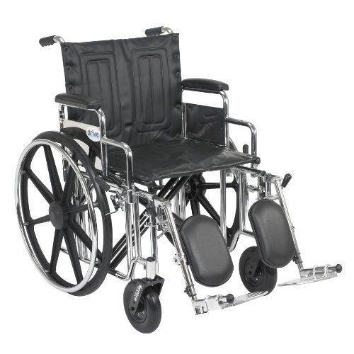 Drive Medical Sentra Extra Heavy Duty Wheelchair, Detachable Full Arms, Swing away Footrests, 24