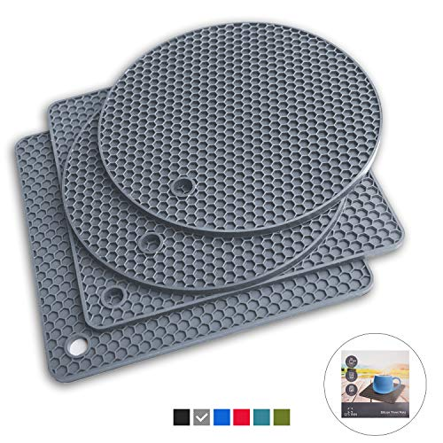 (Q's INN Gray Silicone Trivet Mats | Hot Pot Holders | Drying Mat. Our potholders Kitchen Tool is Heat Resistant to 440°F, Non-slip,durable, flexible easy to wash and dry and Contains 4 pcs.)