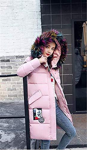 Caliente Rosa Cremallera Pluma Con Manga Parche Capucha Moda Outwear Exteriores Chaqueta Retro Larga Joven Bolsillos Mujer Delanteros Invierno Prendas H4qnUtwxz