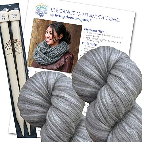 Super Chunky Cowl KNIT KIT includes Soft Thick Merino Silk Yarn, Big Needles and Written Pattern w. Photo Tutorial. Elegance Outlander Cowl Kit, GRAPHITE