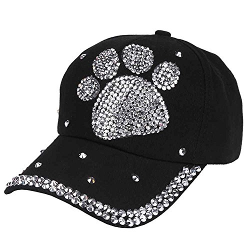 Funbase Children Outdoor Sports Star Shaped Bling Baseball Hiking Cap (Black&Paw Adult Size)