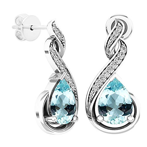 - Dazzlingrock Collection 8X6 MM Each Pear Aquamarine & Round Diamond Ladies Infinity Dangling Earrings, Sterling Silver