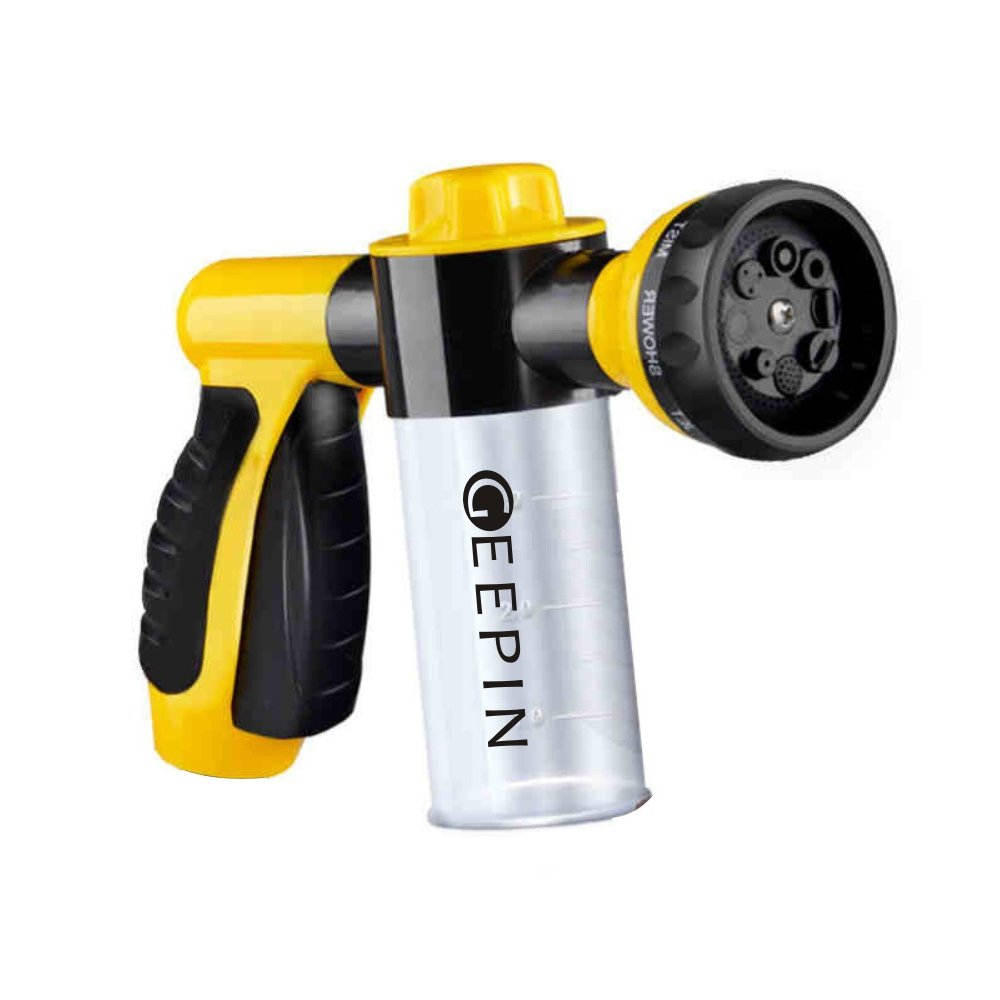 GEEPIN8482; Garden Hose Nozzle Sprayer - Pistol Grip Trigger. 8 Adjustable Pattern, Can Independently Open or Closed Foam Storage, Best for Watering Plants & Lawn, Car Washing, Patio, Dog & More.