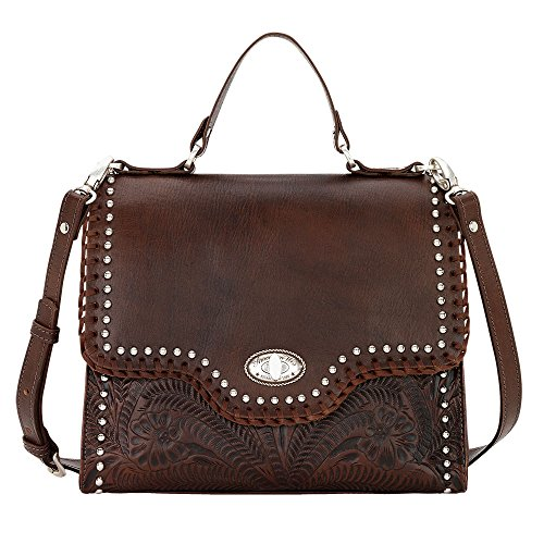 American West Leather Top Handle Classic Satchel Handbag with Purse Charm Key Chain (Hidalgo Chestnut)