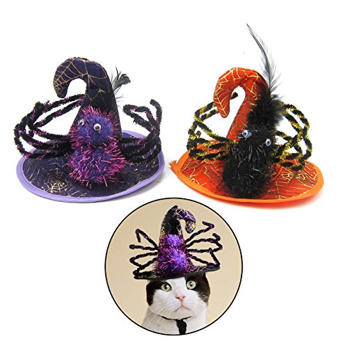 Alfie Pet - Honor Hat 2-Piece Set for Party Halloween Special Events Costume (for Small Dogs & Cats) - Pattern: Spider]()