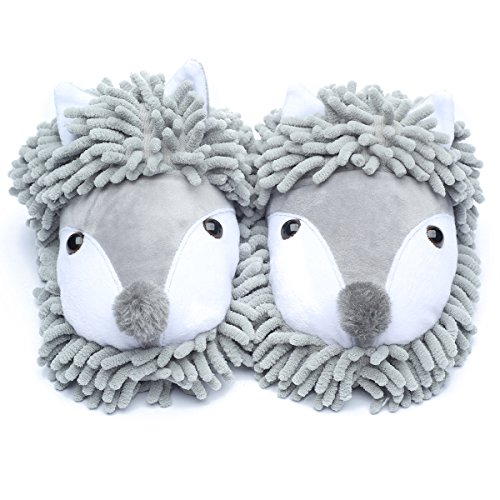 Ofoot Winter Warm Plush Slip On Clog Indoor Cartoon Slippers Animal Slippers For Women and Men Grey(fox) Z4XL8IT