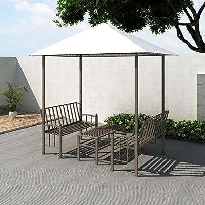 Tidyard Pérgola de Jardín Patio con Mesa y Bancos Estructura de Acero Resistente a La Intemperie Resistente a Los Rayos UV Blanco y Marrón 2,5x1,5x2,4m: Amazon.es: Hogar