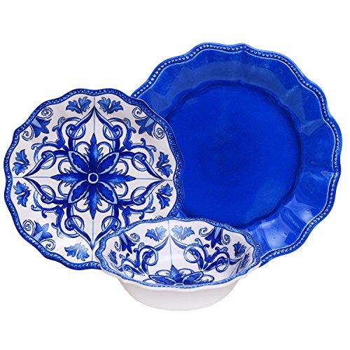 Blue Porcelain Dinnerware - First Design Global DNS0112117BW Porcelain Dinnerware Set, 12 Piece, Small, Blue and White Floral