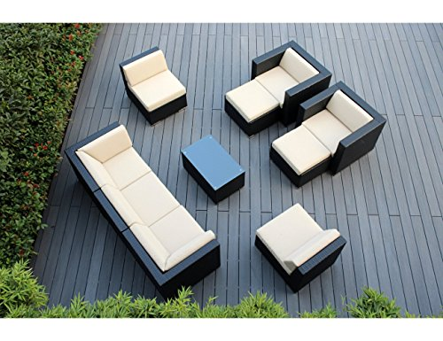 Cheap Ohana 10-Piece Outdoor Patio Furniture Sectional Conversation Set, Black Wicker with Beige Cushions – No Assembly with Free Patio Cover