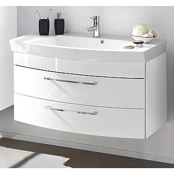 Lomadox Waschtisch Mit Unterschrank In Hochglanz Weiß 100cm