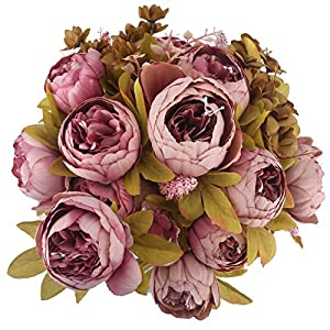 Bomarolan Fake Flowers Vintage Artificial Peony Bouquet Silk Wedding Flower, Pack of 2 Home Party Festival Decoration(Sweetened Bean) 37